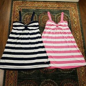 Pink Victoria's Secret pair of striped dresses